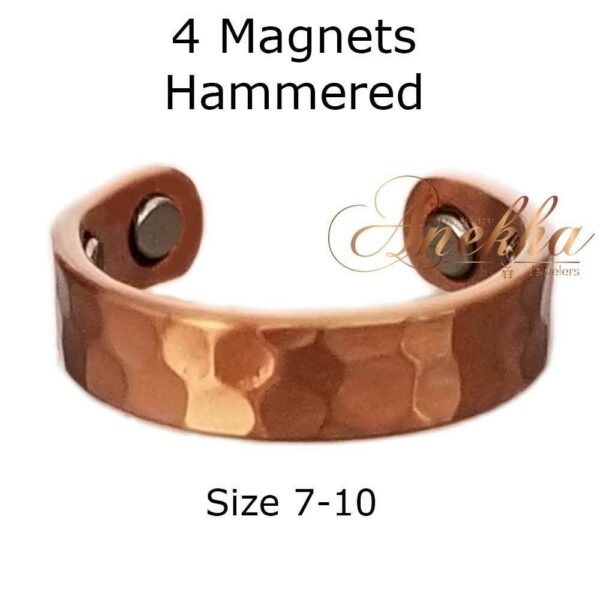VINTAGE HAMMERED COPPER RING, MAGNETIC 4 MAGS SIZE 7-10 ADJUSTABLE ARTHRITIS CX13