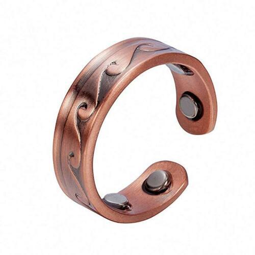WAVY COPPER MAGNETIC RING, VINTAGE 4 MAGS SIZE 6-8 ARTHRITIS MEN CX28