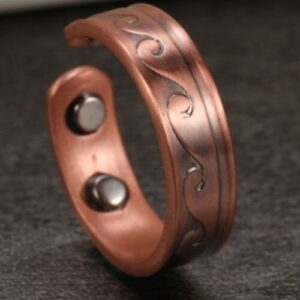 WAVY COPPER MAGNETIC RING, VINTAGE 4 MAGS SIZE 6-8 ARTHRITIS MEN CX28