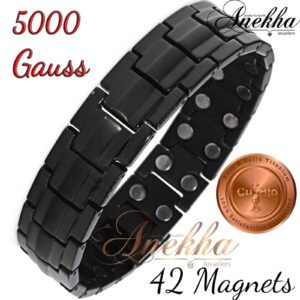 BLACK TITANIUM MAGNETIC BRACELET ALL MAGNETS ARTHRITIS MEN TB01SM